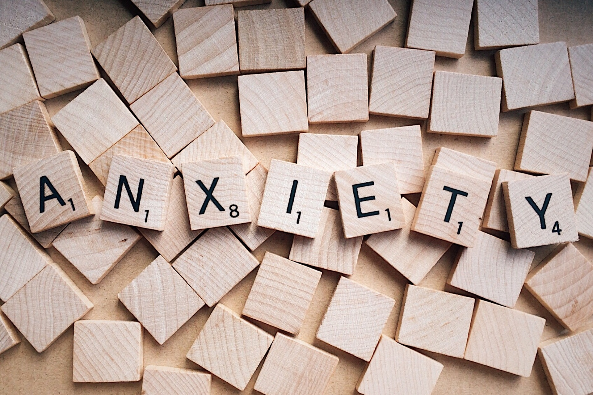 Anxiety written in wooden scrabble letters